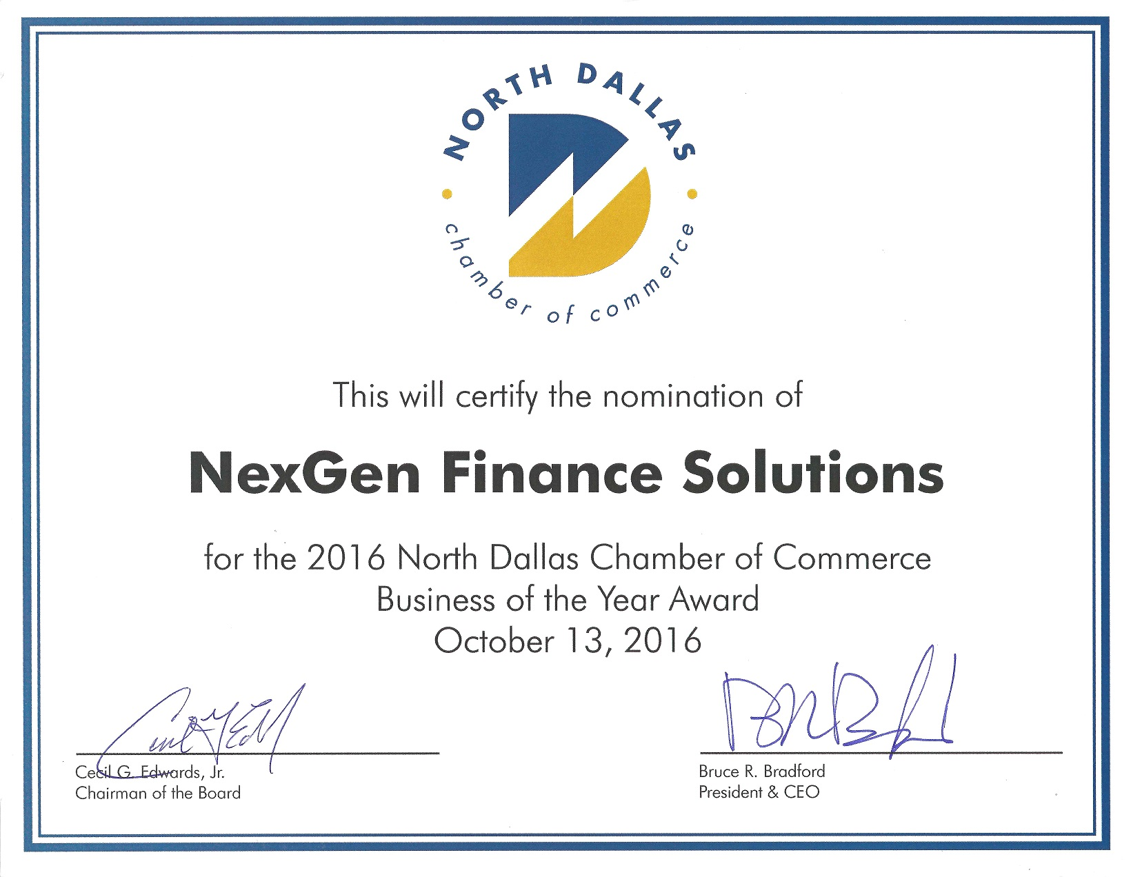 NexGen nominated for 2016 North Dallas Chamber of Commerce Business of Year
